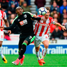 Stoke's Joe Allen battles for the ball with Bournemouth's Benik Afobe Photo: Getty