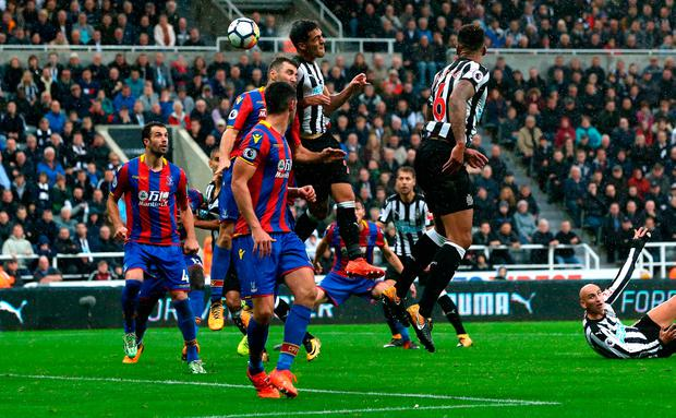 Mikel Merino of Newcastle United scores with a header Photo: Getty