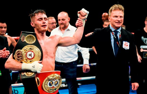 Ryan Burnett celebrates after winning his IBF & WBA Super World Bantamweight Championship bout with Zhanat Zhakiyanov at the SSE Arena in Belfast. Photo by David Fitzgerald/Sportsfile