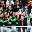 Alan Cronin of Nemo Rangers lifting the cup after the Cork County Senior Fooball Championship Final Replay match between St Finbarr's and Nemo Rangers at Páirc Uí Chaoimh in Cork. Photo by Eóin Noonan/Sportsfile