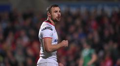 Tommy Bowe of Ulster during the PRO14 Round 6 match between Ulster and Connacht at the Kingspan Stadium in Belfast. (Photo By David Fitzgerald/Sportsfile via Getty Images)