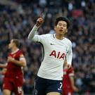Tottenham Hotspur's Son Heung-Min celebrates scoring his side's second goal during the Premier League match between Tottenham Hotspur and Liverpool at Wembley Stadium on October 22, 2017 in London, England. (Photo by Rob Newell - CameraSport via Getty Images)