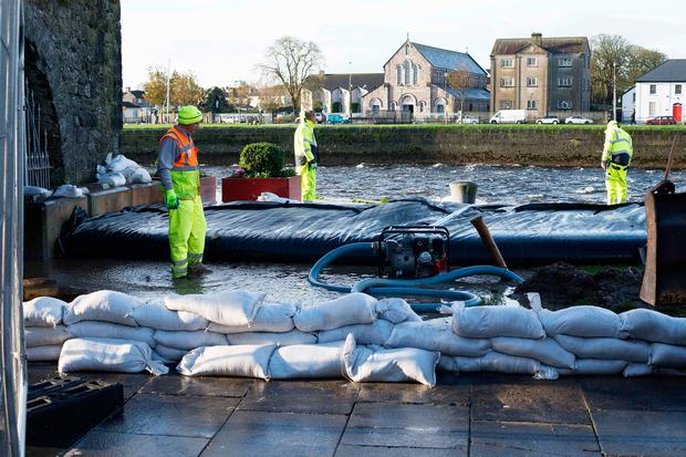 Sandbags in the Spanish Arch area of Galway city ahead of Storm Brian. Photo: Andrew Downes