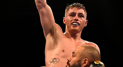 Ryan Burnett celebrates his victory over Zhanat Zhakiyanov in Belfast. Photo: Reuters