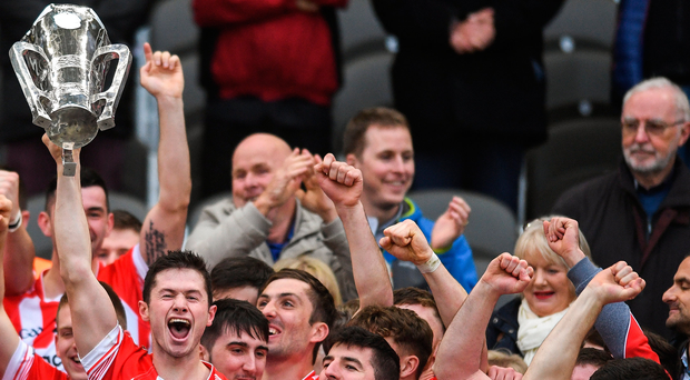 Seamie Harnedy lifts the cup as Imokilly players celebrate after beating Blackrock in the Cork SHC final at Páirc Uí Chaoimh. Photo: Sportsfile