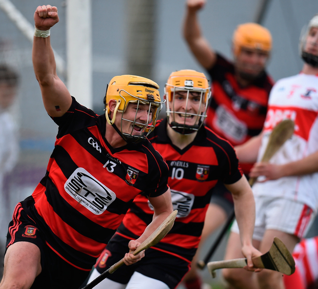 Ballygunner's Conor Power celebrates after scoring his side's second goal. Photo: Sportsfile
