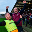 Manager Michael McShane and selector Joe McCluskey celebrate Slaughtneil's win. Photo: Sportsfile