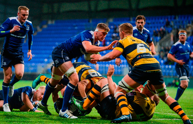 Óisin Dowling of Leinster A in action against Shane Lewis-Hughes of Cardiff Blues Photo: Sportsfile
