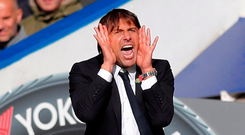 Antonio Conte barks out the orders at Stamford Bridge Photo: Reuters