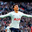 Dele Alli celebrates his goal just before half-time which put Spurs 3-1 up at the break in their victory against Liverpool Photo: Getty