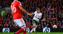 James McClean shoots to score against Wales