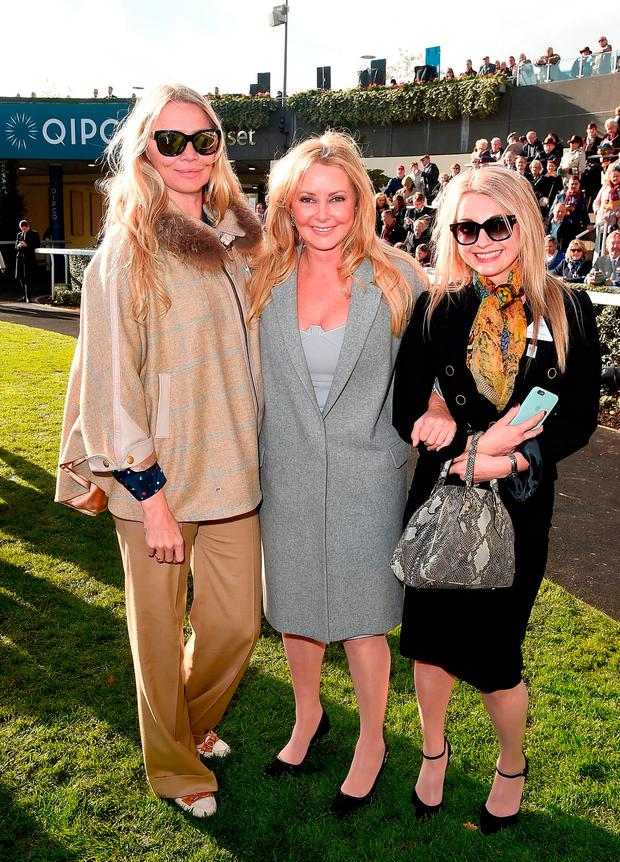 (L-R) Jodie Kidd, Carol Vorderman and friend Clare Holt during the QIPCO British Champions Day at Ascot Racecourse on October 21, 2017 in Ascot, United Kingdom. (Photo by Eamonn M. McCormack/Getty Images for Ascot)