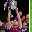 Davy Glennon after winning the All Ireland with Galway this year and (right) in 2015, just before he went for treatment