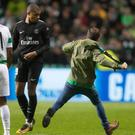 A Celtic fan ran on the pitch and aimed a kick at Kylian Mbappe of Paris Saint Germain
