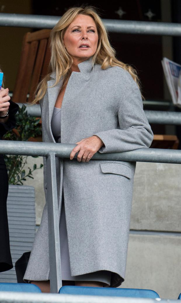 Carol Vorderman watches the racing at The Qipco British Champions Day at Ascot Racecourse on October 21, 2017 in Ascot, England. (Photo by Mark Cuthbert/UK Press via Getty Images)