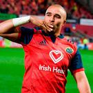 Simon Zebo of Munster acknowledges supporters after the European Rugby Champions Cup Pool 4 Round 2 match between Munster and Racing 92 at Thomond Park in Limerick. Photo by Diarmuid Greene/Sportsfile