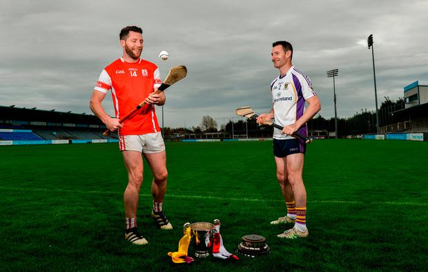 Cuala's Shane Stapleton, left, and Kilmacud Crokes' Niall Corcoran at yesterday's media day ahead of the Dublin SFC/SHC finals at Parnell Park. Piaras Ó Mídheach/Sportsfile
