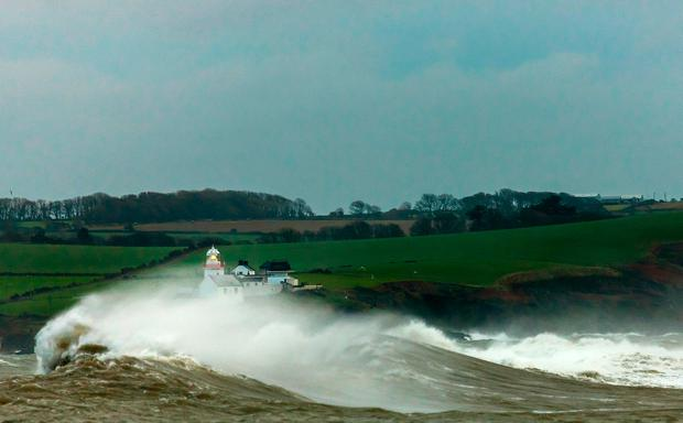 Roches Point Lighthouse in Co. Cork during the recent stormy weather. Photo: David Creedon / Anzenberger