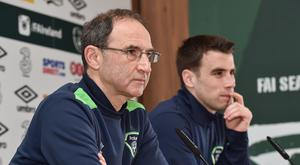 Republic of Ireland manager Martin O'Neill and captain Seamus Coleman