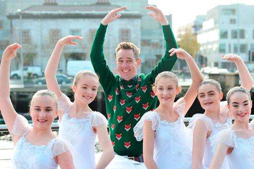 Ryan Tubridy with students from the Denise Moriarty School of Dance in Cork at the launch of 'The Late Late Toy Show' audition tour in Cork city. Photo: Daragh McSweeney/Provision