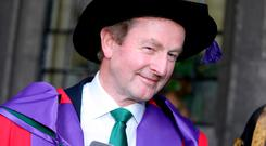 Former Taoiseach Enda Kenny at NUI Galway, where he received an honorary doctorate of laws for his contributions to public life. Photo: Hany Marzouk