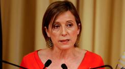 Catalan parliament speaker Carme Forcadell delivered a statement on Saturday. Photo: Reuters