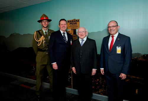 President Higgins as he arrives in Wellington New Zealand being met by from left Lt Col Trent Corbett Honorary Aide de Camp representing Her Excellency The Governor General , Mr Rob Taylor Divisional Manager , Europe Division Ministry of Foreign Affairs and Trade and Mr Geoffrey Keating Charge d'Affaires .