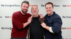 Actor Ben Affleck, producer Harvey Weinstein and actor Matt Damon attend the Film Independent NYC