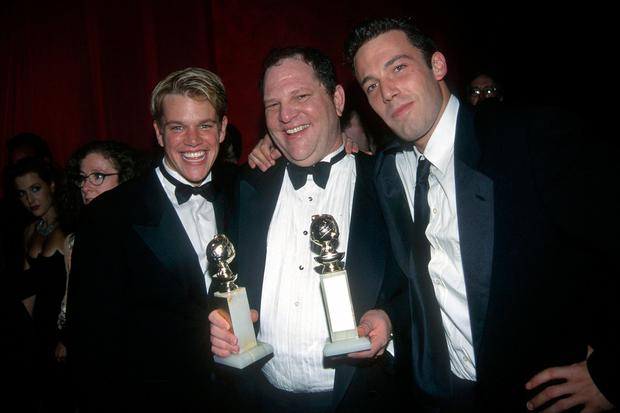 (L-R) Matt Damon, Harvey Weinstein and Ben Affleck attend Annual Golden Globe Awards After Party Hosted by Miramax Films at the Beverly Hilton Hotel on January 18, 1998 in Beverly Hills, CA. (Photo by Patrick McMullan/Patrick McMullan via Getty Images)
