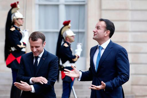 French President Emmanuel Macron, left, welcomes Irish Prime Minister Leo Varadkar at the Elysee Palace in Paris, (AP Photo/Kamil Zihnioglu)