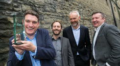 Garrett Cassidy, CEO of Trezeo, Flavian Charlon, CTO at Trezeo, Ben Hurley, CEO NDRC, David Tighe, Head of Enterprise and Innovation in Bank of Ireland. Credit: Shane O'Neill, SON Photographic