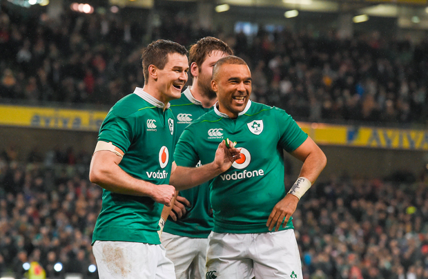Jonathan Sexton, left, and Simon Zebo