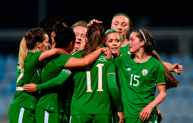 Katie McCabe, 11, is congratulated by her Republic of Ireland team-mates