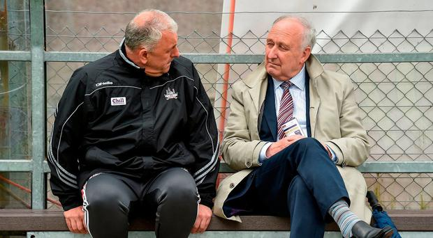 Cork County Board secretary Frank Murphy (right) sits alongside former Cork football boss Peadar Healy, left, ahead of their Munster SFC semifinal against Tipperary at Pairc Ui Rinn last summer. Photo: Dan Sheridan/INPHO. Photo by Matt Browne/Sportsfile