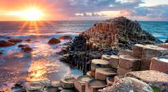 Sunset at the Giant's Causeway in Co Antrim
