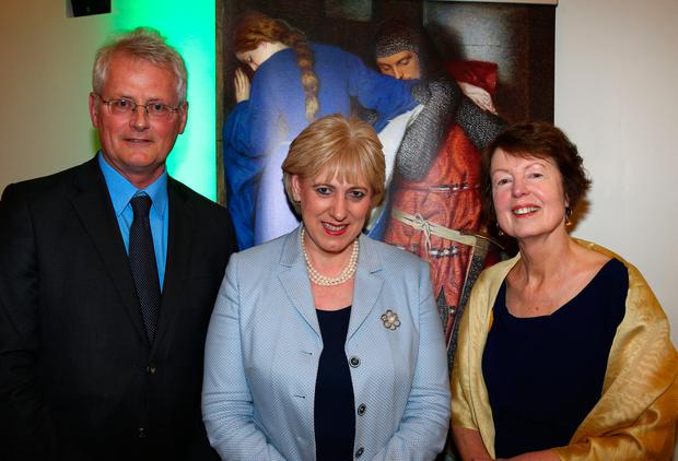 Culture Minister Heather Humphreys, centre, at the opening of 'Frederick William Burton: For the Love of Art' at the National Gallery with director Sean Rainbird and curator Dr Marie Bourke Photo: Colin O'Riordan