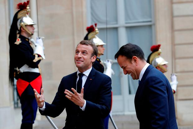 French President Emmanuel Macron welcomes Taoiseach Leo Varadkar at the Elysee Palace in Paris REUTERS/Philippe Wojazer