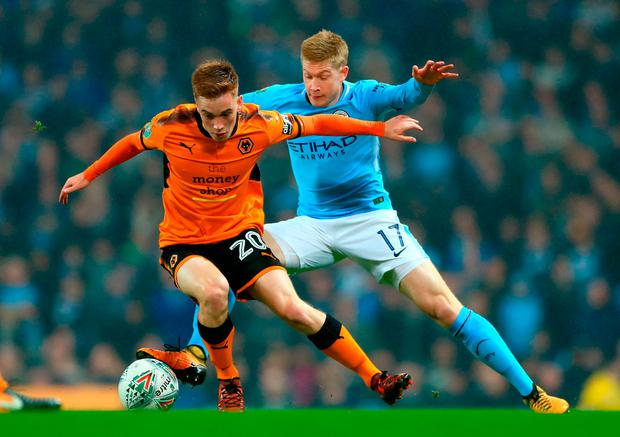 Wolverhampton Wanderers' Connor Ronan (left) and Manchester City's Kevin De Bruyne