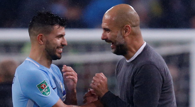 Manchester City's Sergio Aguero and his manager Pep Guardiola. Photo: Reuters