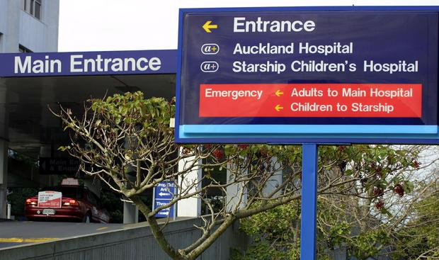 Main entrance to the Auckland Hospital and directions to the Starship Childrens Hospital. Photo by Michael Bradley/Getty Images