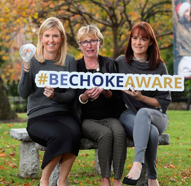 Sibéal Keily, Promed Home manager, left, with Fionuala Campbell and Danielle Elmes, spokesperson for the Sherry Campbell Foundation, at the launch of Promed Home's #BeChokeAware campaign in Dublin. Photo: Robbie Reynolds.