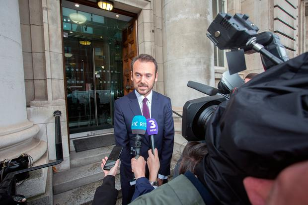 Gerry Mallon, chief executive of Ulster Bank, talks to the media outside the Department of Finance after his meeting with Finance Minister Paschal Donohoe yesterday. Photo: Tony Gavin