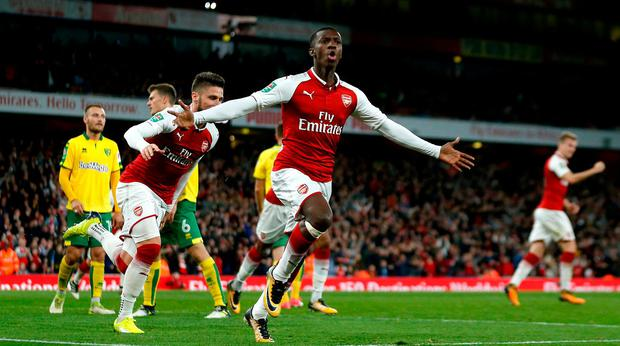 Arsenal's Edward Nketiah (centre) celebrates scoring his side's first goal last night