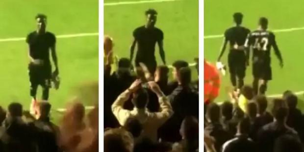 Pape Souare saw his shirt thrown back onto the pitch by a Palace fan. CREDIT: TWITTER