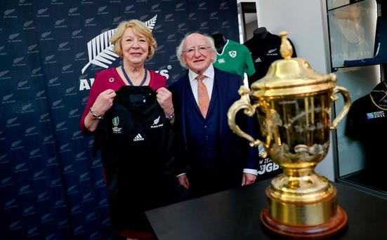 25-10-17.President Higgins and his wife Sabina at the New Zealand Rugby House in Wellington. Mrs Higgins was presented with a number 25 jersey by Lauren Cournane former Manager of Black Ferns, New Zealand's senior women's most successful rugby team Pic Maxwell's