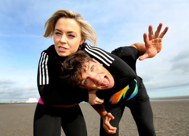 Donncha O'Callaghan and Anna Geary launch 'Ireland's Fittest Family. Photo: Frank McGrath