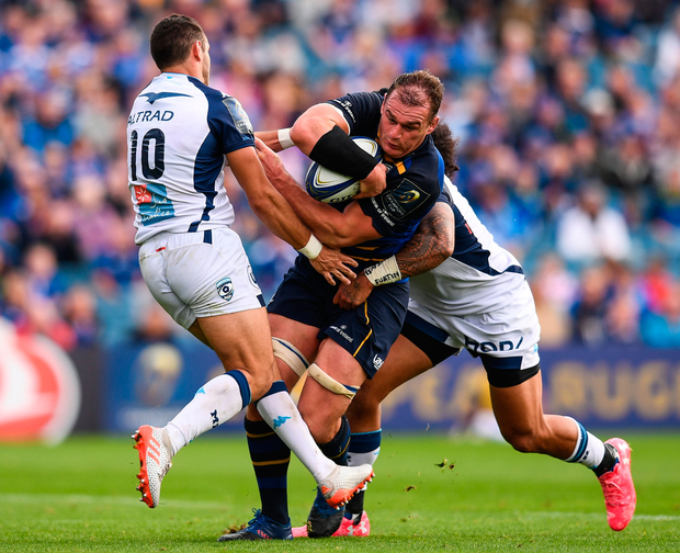 Leinster's Rhys Ruddock in action against Montpellier's Thomas Darmon (left) and Joseph Tomane. Photo: Sportsfile