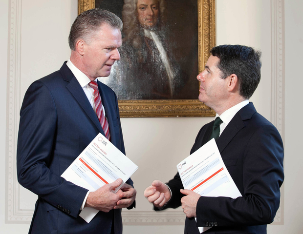 At the 15th Institutional Investor Roundtable global summit in Dublin's Shelbourne Hotel were Conor O'Kelly, CEO of the National Treasury Management Agency, and Paschal Donohoe, Minister for Finance. Photo: Fennell Photography