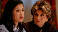 New alleged victim of Harvey Weinstein, Natassia Malthe, speaks as she sits with lawyer Gloria Allred during a news conference in New York City, U.S., October 25, 2017. REUTERS/Brendan McDermid