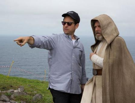 JJ Abrams and Mark Hamill on Skellig Michael